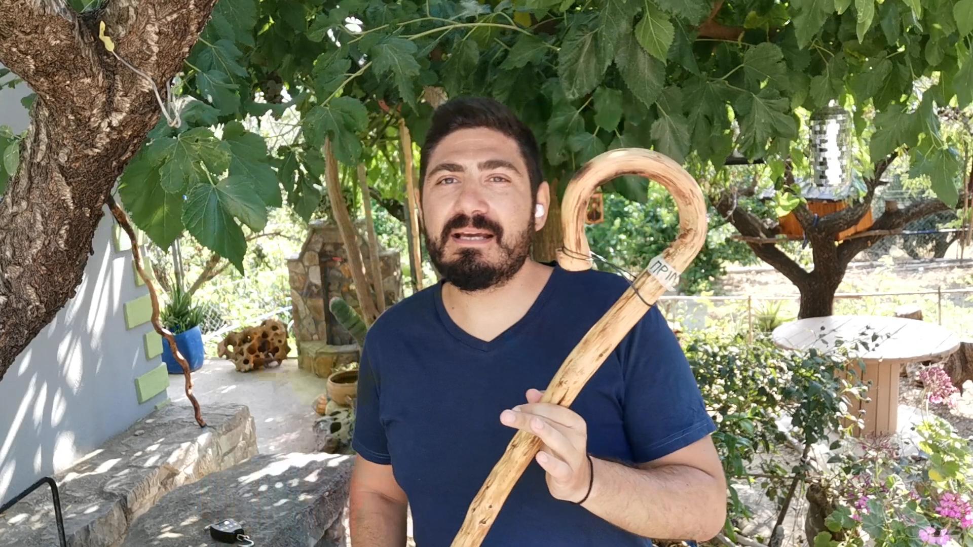 Κλασικό Χειροποίητο κρητικό μπαστούνι απο ξύλο πρίνου. Ανθεκτικό για κάθε χρήση!